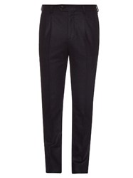 Brunello Cucinelli Slim Fit Pleated Flannel Wool Trousers Navy
