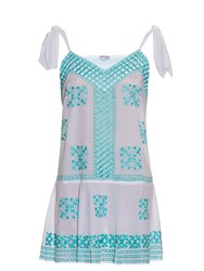 Juliet Dunn Embroidered Self Tie Cotton Dress