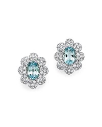 Bloomingdale's Aquamarine And Diamond Earrings In 14K White Gold White Blue