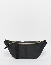 Asos Bumbag In Snakeskin Effect With Shiny Gold Zip Black