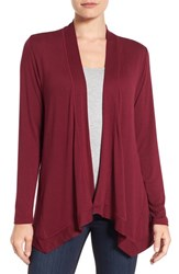 Bobeau Women's Exposed Topstitch Cardigan Burgundy Fudge