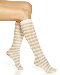 Kate Spade New York Shiny Sheer Stripes Knee High Socks Cream