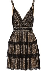 Alice Olivia Olive Tiered Lace Mini Dress Black