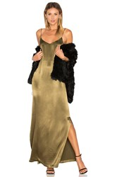 Ganni Sanders Satin Slip Maxi Dress Olive