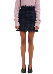 Msgm Tweed Mini Skirt Navy