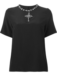 Dolce And Gabbana Embellished Cross T Shirt Black