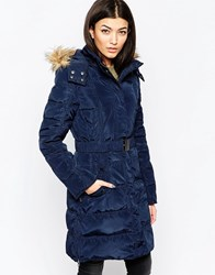 Ichi Belted Parka With Faux Fur Hood Total Eclipse Navy