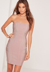 Missguided Premium Bandage Bandeau Bodycon Dress Pink Mauve