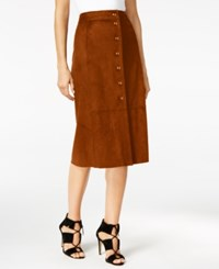 Catherine Malandrino Faux Suede A Line Skirt Autumn Moth Brown