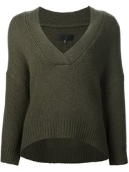 Nili Lotan V Neck Jumper Green