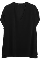 Alexander Mcqueen Cape Effect Silk Crepe Top Black