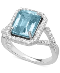 Macy's Aquamarine 3 Ct. T.W. And White Topaz 1 4 Ct. T.W. Ring In Sterling Silver