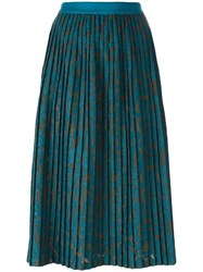 Roberto Collina Midi Pleated Skirt Blue