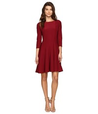 Christin Michaels Andrea 3 4 Sleeve Fit And Flare Dress Garnet Women's Dress Red