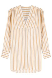 Helmut Lang Cotton Silk Striped Tunic Stripes