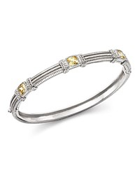 Judith Ripka Triple Cushion Bangle Bracelet With Canary Crystal Yellow Silver