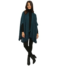 Nanette Lepore Far Out Fringe Cardi Dark Teal Women's Sweater Blue