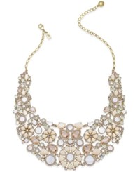 Kate Spade New York Gold Tone Crystal Stone And Mother Of Pearl Floral Statement Necklace
