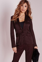Missguided Fitted Blazer Coord With Flap Pockets Burgundy Burgundy
