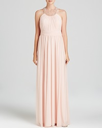 Decode 1.8 Gown Faux Pearl Embellished Open Back Apricot