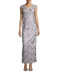 Marina Rosette Sequined Sleeveless Gown Silver