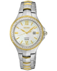 Seiko Women's Coutura Solar Diamond Accent Two Tone Stainless Steel Bracelet Watch 29Mm Sut240 No Color