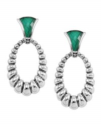 Lagos Venus Fluted Crystal And Malachite Doublet Drop Earrings