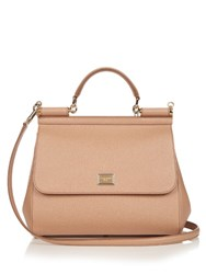 Dolce And Gabbana Sicily Medium Leather Tote Camel