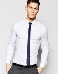 Asos Skinny Shirt In White With Navy Tie Save 15 White