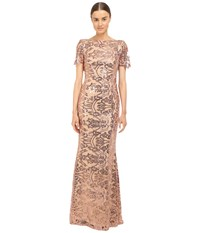 Marchesa Sequin Short Sleeve Gown W Cowl Back Blush Women's Dress Pink