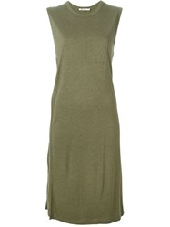 T By Alexander Wang Overlay Midi Dress Green