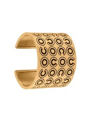 Chanel Vintage Coco Engraved Cuff Metallic
