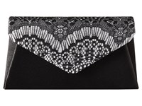 Jessica Mcclintock Lily Small Lace Envelope Clutch Black Silver Clutch Handbags