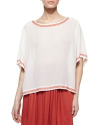 Dkny Short Sleeve Peasant Blouse With Embroidered Trim