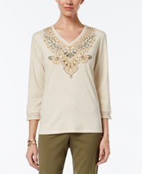 Alfred Dunner Cactus Ranch Collection Embroidered Beaded Top Stone