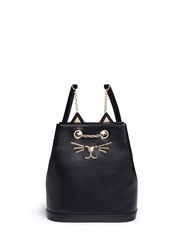 Charlotte Olympia 'Feline' Cat Face Chain Calfskin Leather Backpack Black