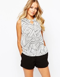 Y.A.S Junction Sleeveless Top Blackwhite