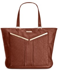 Rampage Quilted Detail Tote Cognac