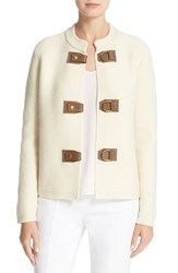 Tory Burch Women's 'Ross' Leather Tab Merino Wool Cardigan