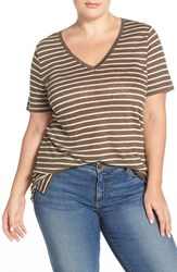 Plus Size Women's Caslon Linen Knit V Neck Tee Olive Beige Rainy Day Stripe