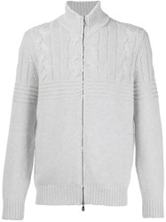Brunello Cucinelli Zip Up Cable Knit Pullover White
