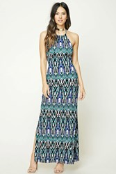 Forever 21 Halter Cage Cutout Maxi Dress Teal Black