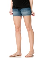 Motherhood Maternity Frayed Denim Shorts Medium Wash