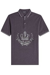 Dolce And Gabbana Embroidered Cotton Polo Shirt Grey