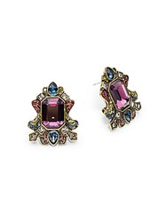 Heidi Daus Swarovski Crystal Multi Color Rhinestones And Brass Ox Plated Regal Rhapsody Earrings Red