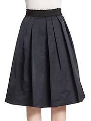 Derek Lam Pleated Midi Skirt Navy