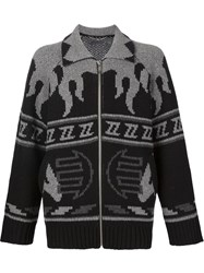 Christian Dada Zb Cowichan Knit Cardigan Black