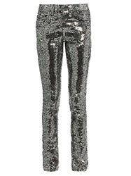 Saint Laurent Sequin Embellished Skinny Jeans Silver