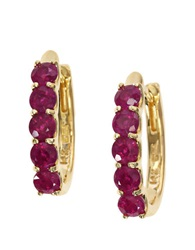 Effy Ruby And 14K Yellow Gold Hoop Earrings Ruby Gold