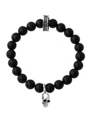 King Baby Studio Onyx Sterling Silver Skull Beaded Bracelet No Color